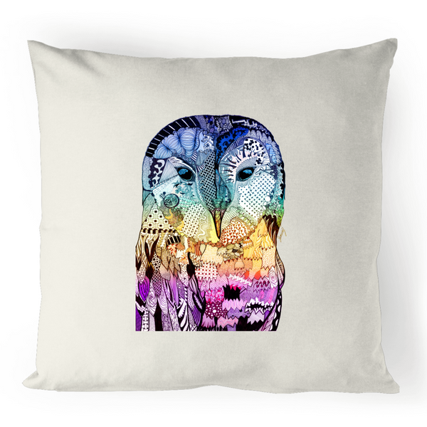 100% Linen Cushion Cover - Blue, Yellow & Purple 'Wise Owl'