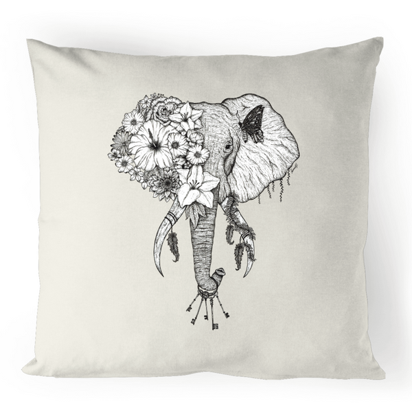 100% Linen Cushion Cover - Floral Elephant