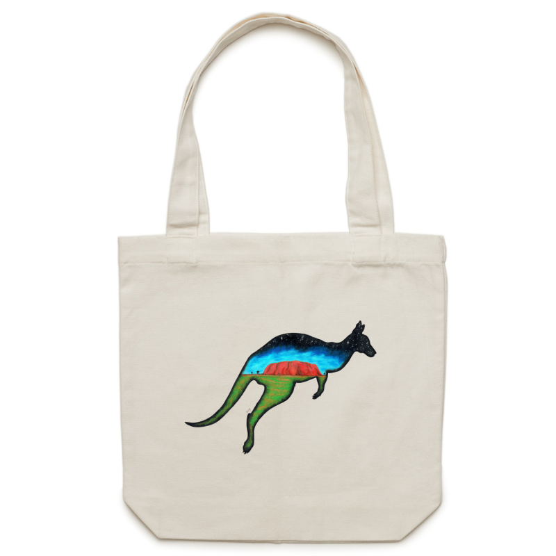 Canvas Tote Bag - Kangaroo - Double Sided