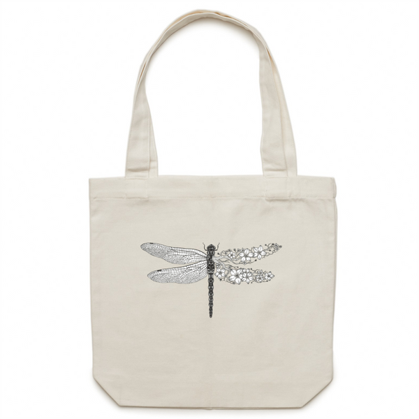 Canvas Tote Bag - Blossom Dragonfly - Double Sided