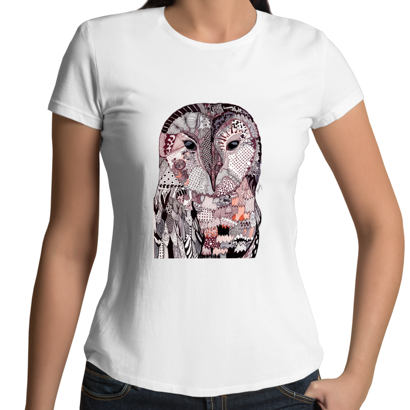 Womens T-shirt - 'Wise Owl' Original Colour - Front
