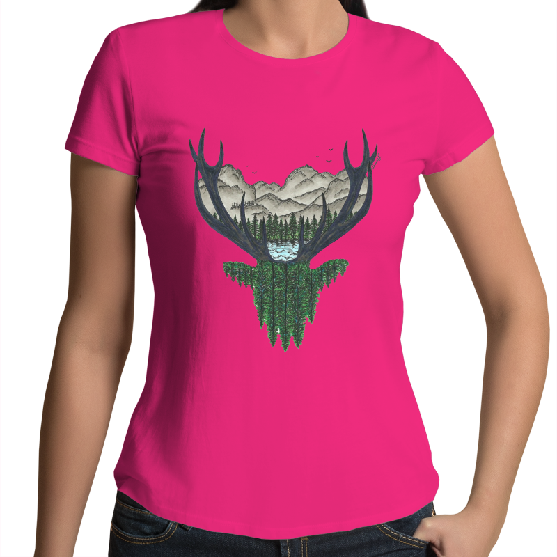 Womens T-shirt - 'Forest Stag' - Front