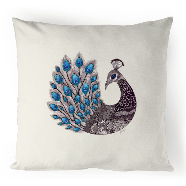 100% Linen Cushion Cover - 'Majestic Peacock'