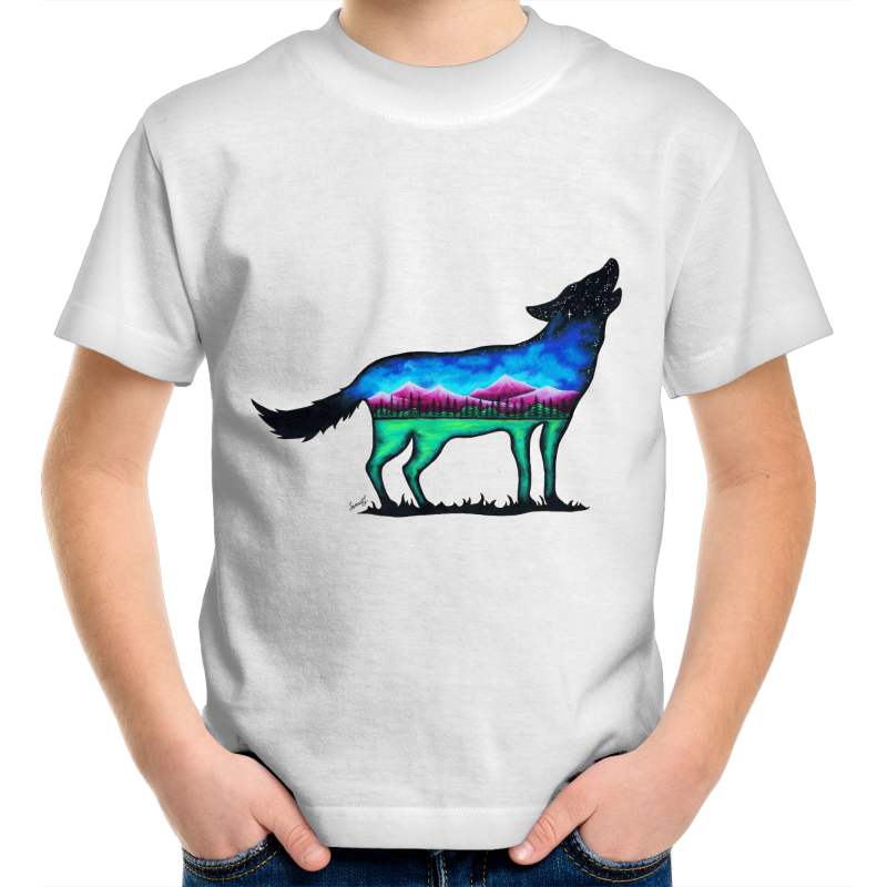Kids T-Shirt - Mountain Wolf - Front Print