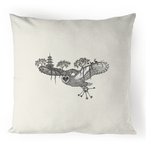 Linen Cushion Cover - 'Aloft' Owl Illustration - Front