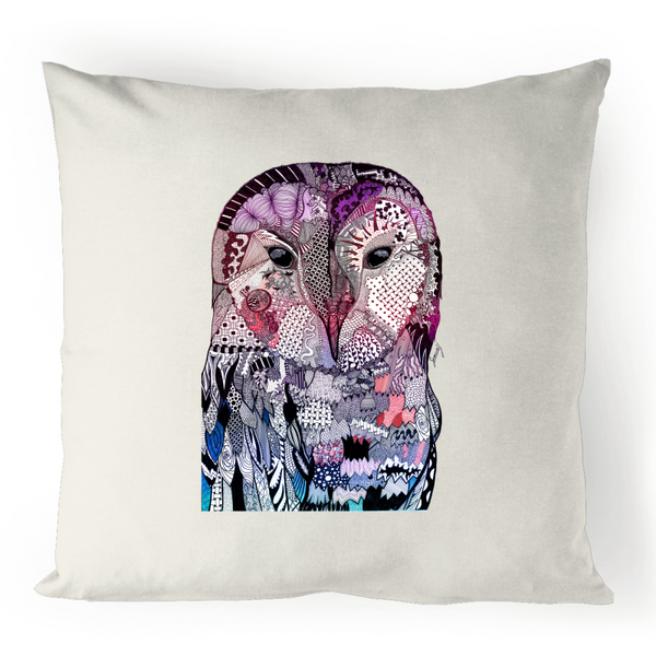 100% Linen Cushion Cover - Purple 'Wise Owl'