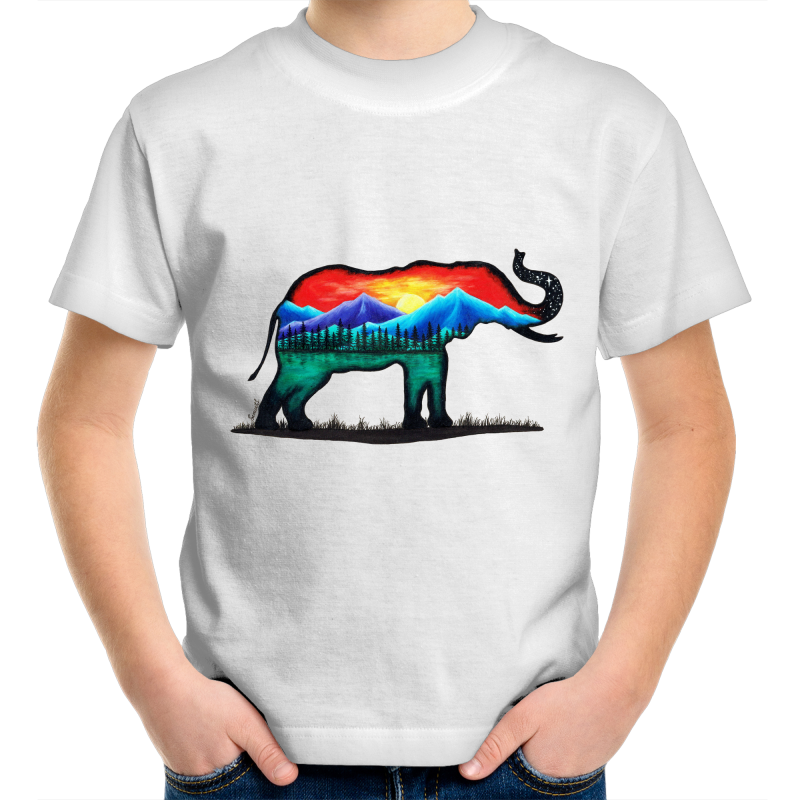 Kids T-Shirt - Mountain Elephant - Front Print