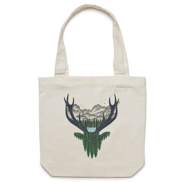 Canvas Tote Bag - 'Forest Stag' - One Sided