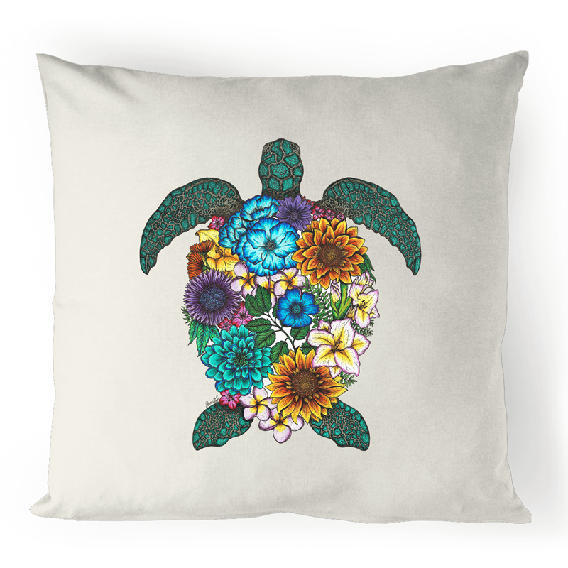 100% Linen Cushion Cover - Floral Turtle - Colour
