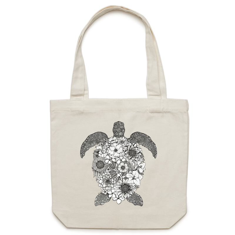 Canvas Tote Bag - Floral Turtle - Black and White - Double Sided