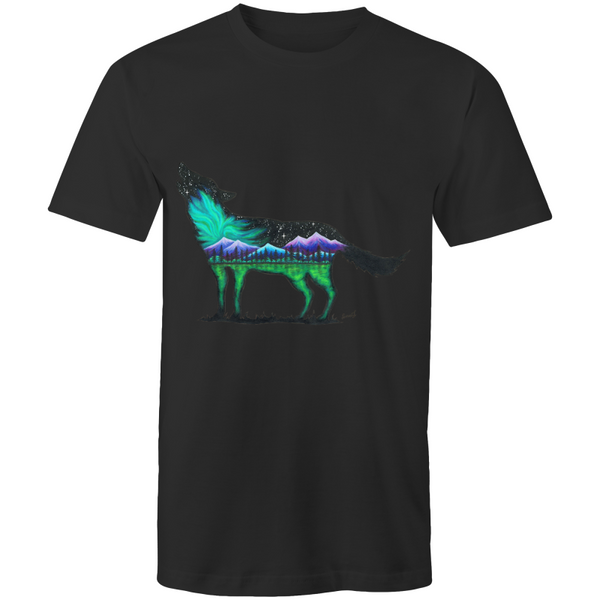 Mens T-Shirt - Northern Lights Wolf - Front Print