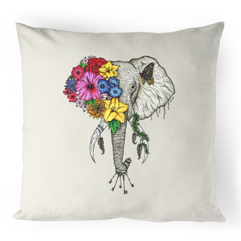 100% Linen Cushion Cover - Colour Floral Elephant