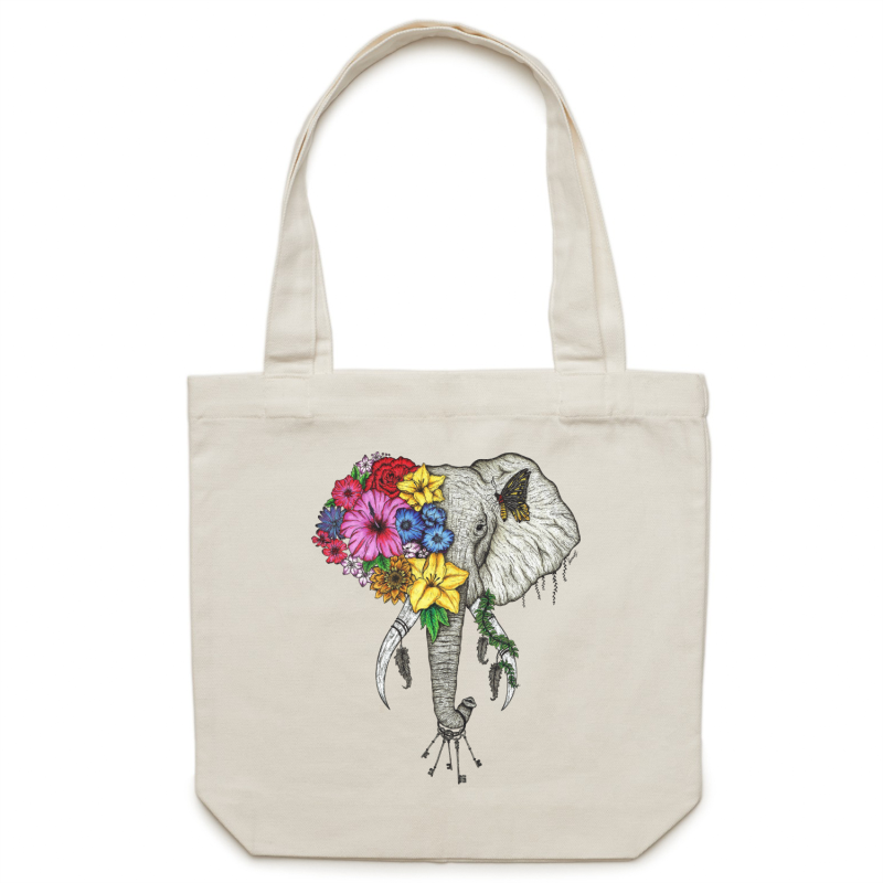 Canvas Tote Bag - Colour Floral Elephant - Double Sided
