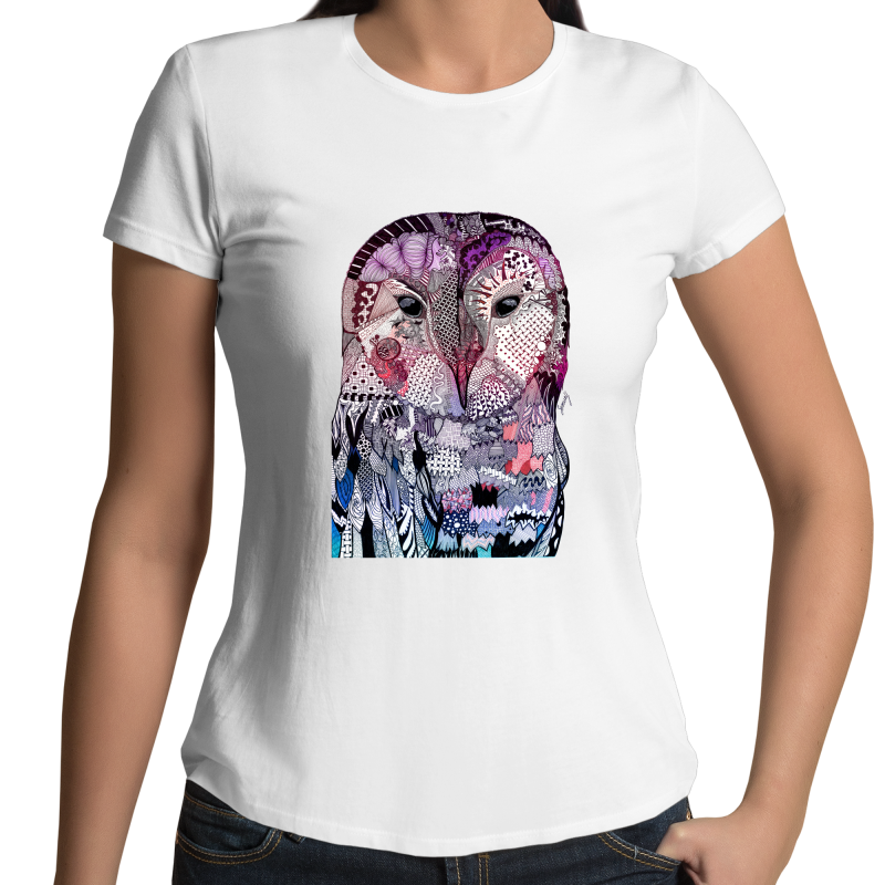 Womens T-shirt - Purple 'Wise Owl' - Front