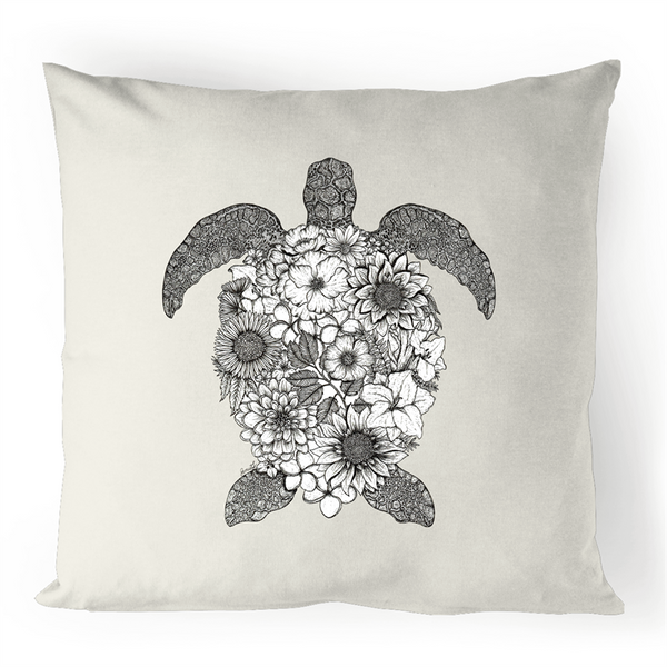 100% Linen Cushion Cover - Floral Turtle - Black and White