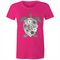 Womens T-shirt - Floral Turtle Black and White - Front Print