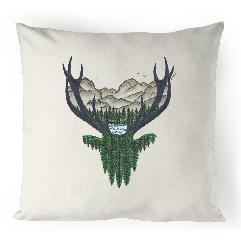 100% Linen Cushion Cover - 'Forest Deer'