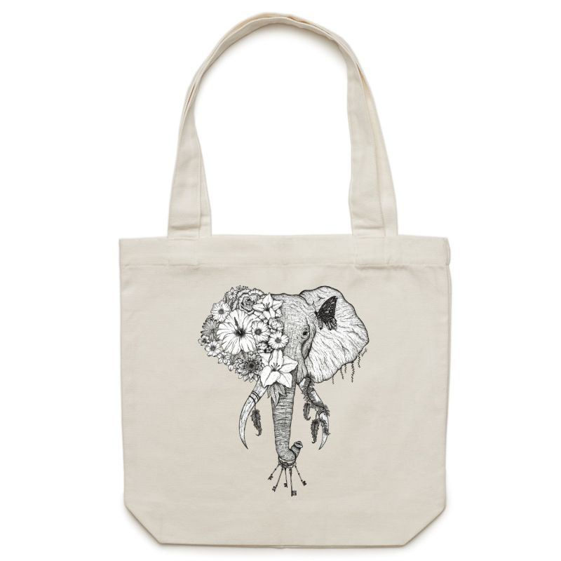 Canvas Tote Bag - Black and White Floral Elephant - Double Sided