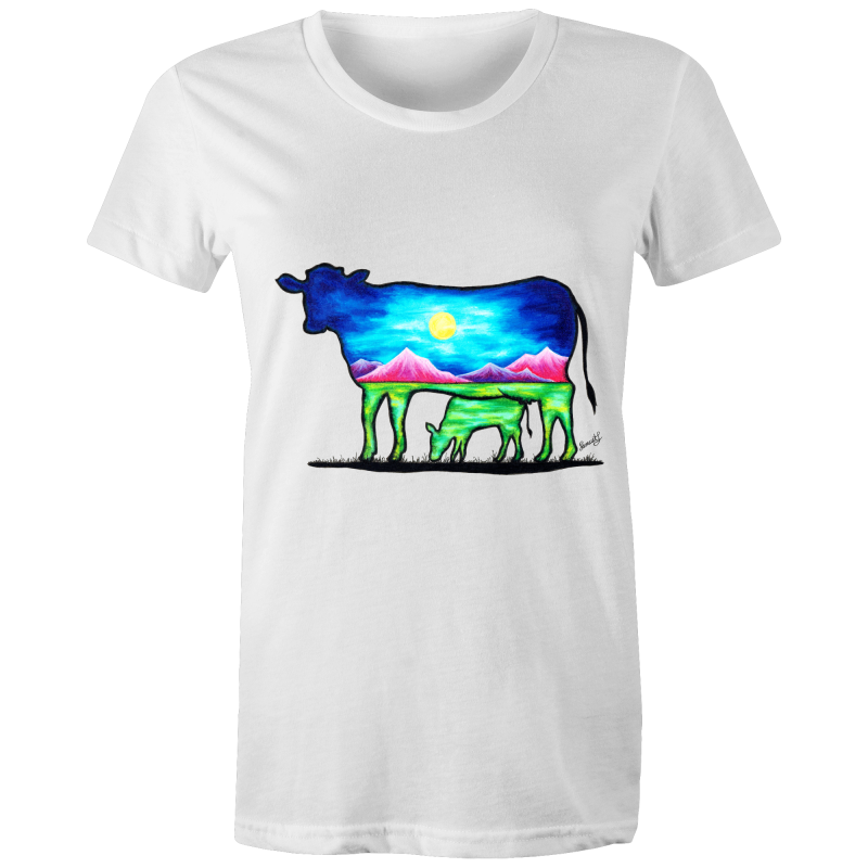 Womens T-Shirt - Cow and Calf - Front Print
