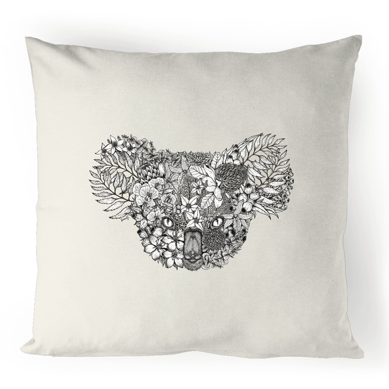 100% Linen Cushion Cover - Floral Koala