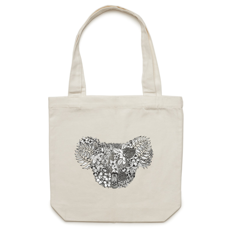 Canvas Tote Bag - Floral Koala - Double Sided