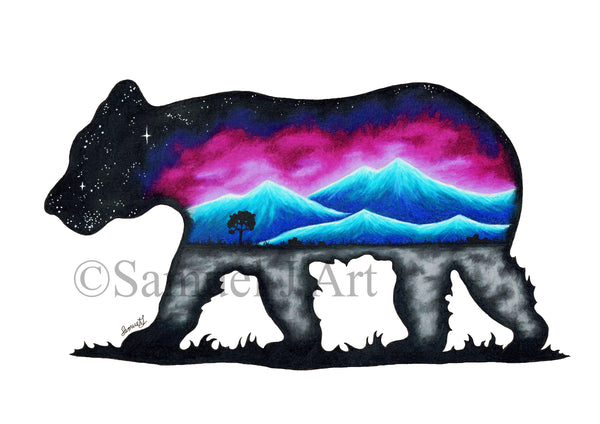 Bear - Colourful Mountains Scene - Prints