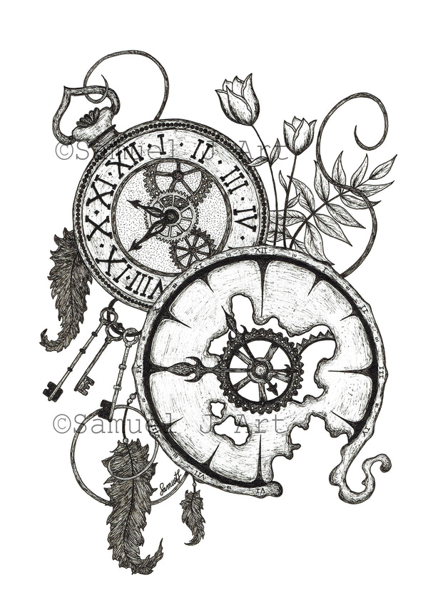 Clocks Illustration - Prints