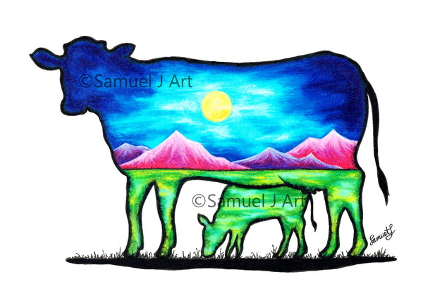 Cow & Calf - Colourful Mountains Scene Prints