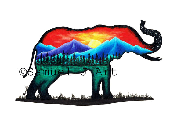 Elephant  |  Colourful Mountain Scene