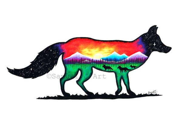 Fox - Colourful Silhouette Scene - Prints