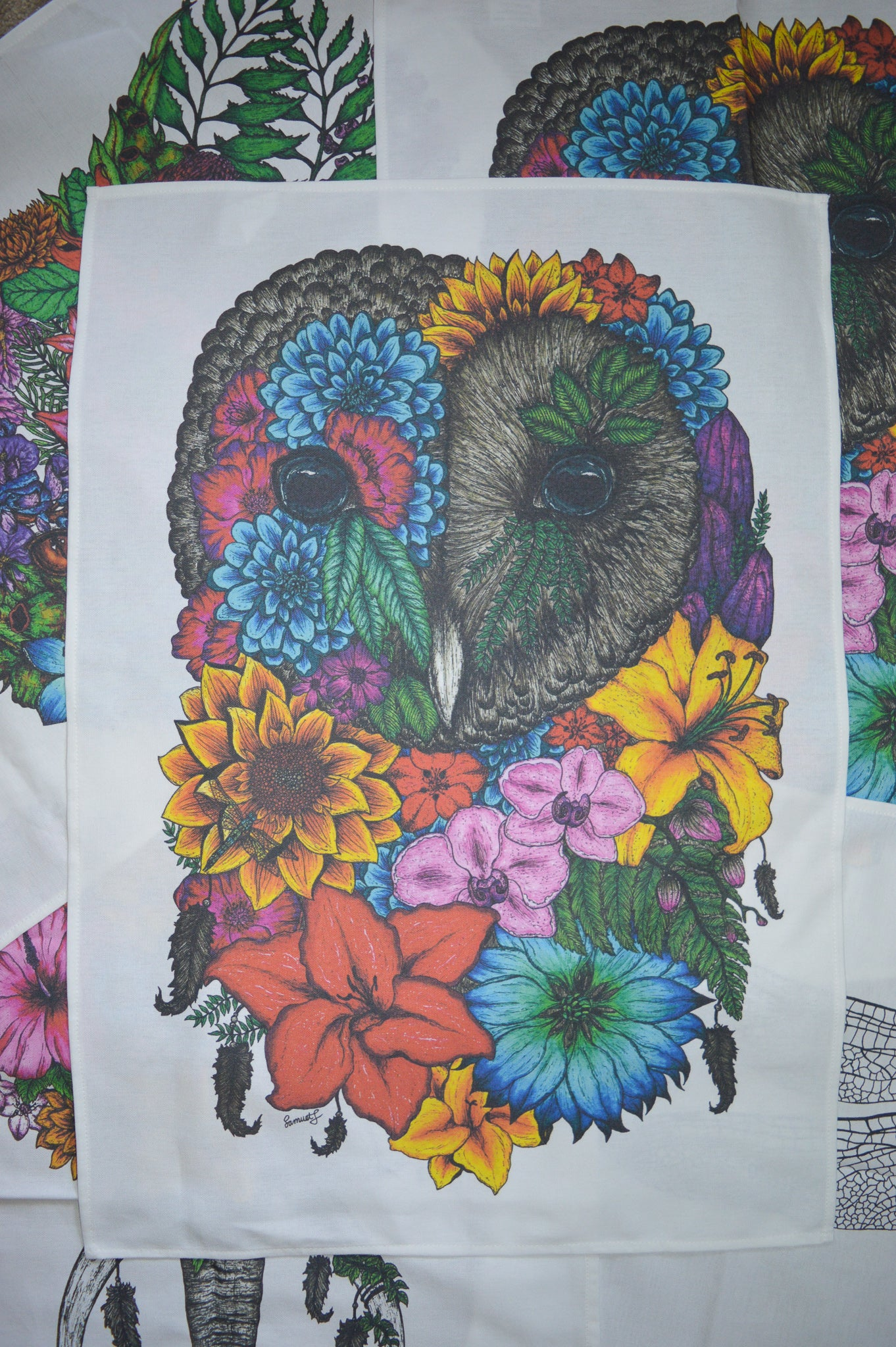 Floral Owl, Colour - Tea Towel