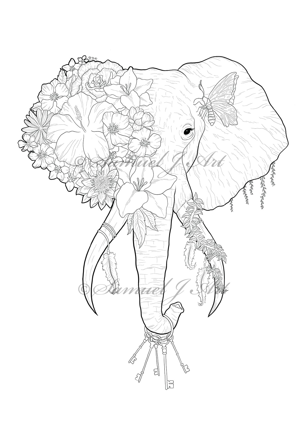 Floral Elephant - Colouring Template - Digital Download