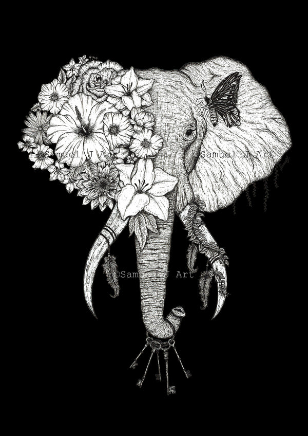 Floral Elephant - Black Background - Prints