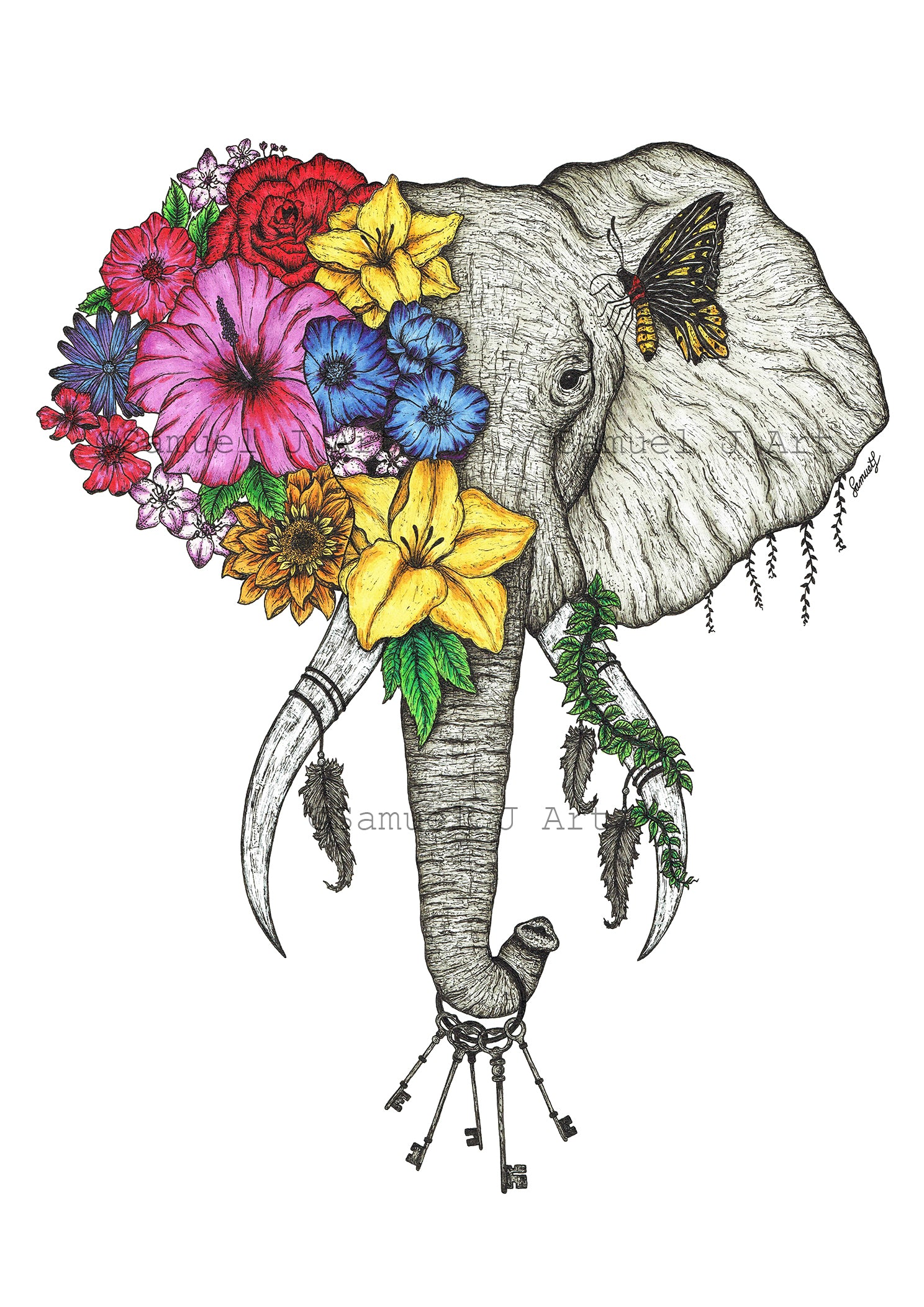 Floral Elephant in Colour - White Background - Prints