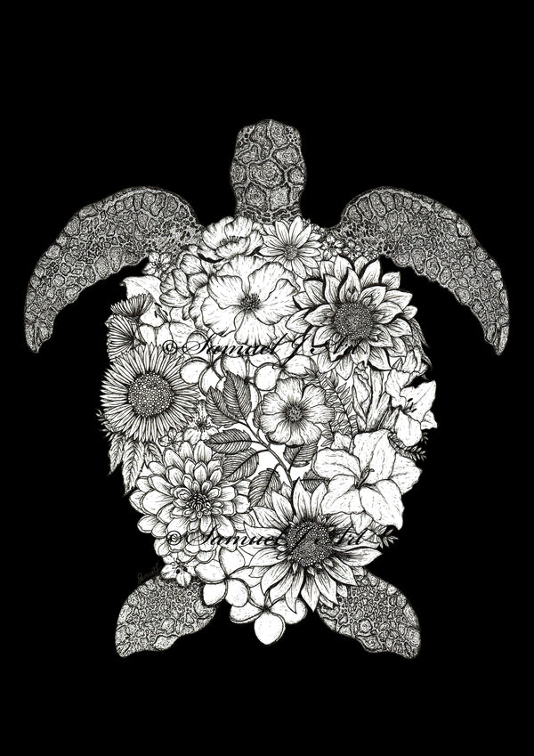 Copy of Floral Turtle - Black & White - Black Background
