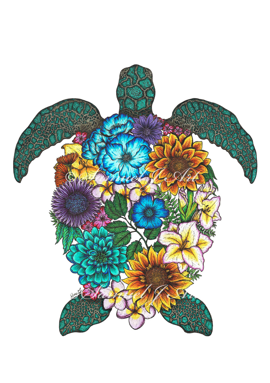 Floral Turtle - Colour - White Background