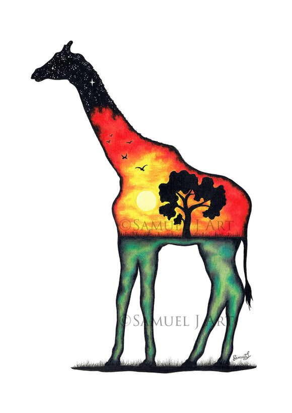 Giraffe - Colourful Scene - Prints