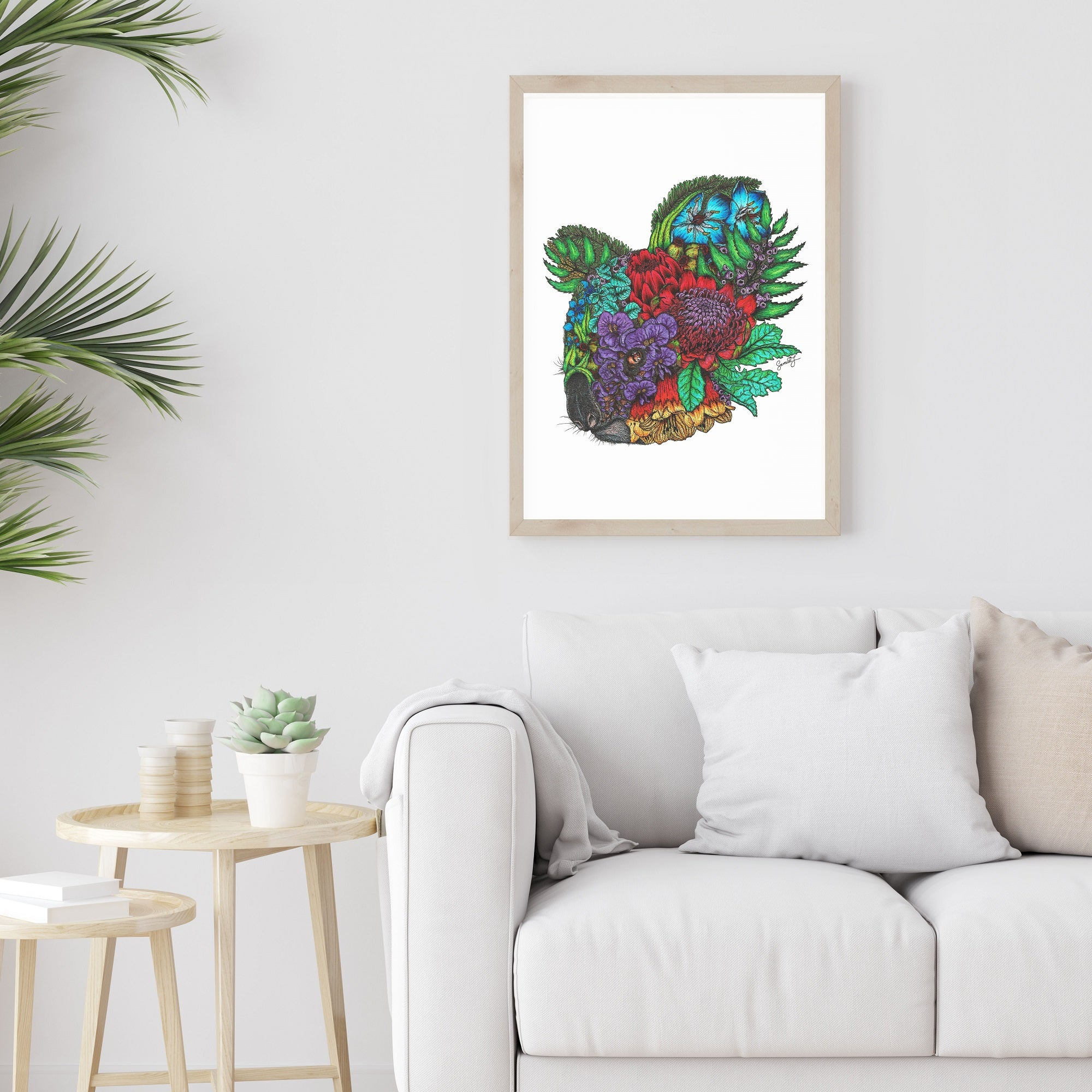 Floral Koala 2 - Colour - White Background - Print SALE