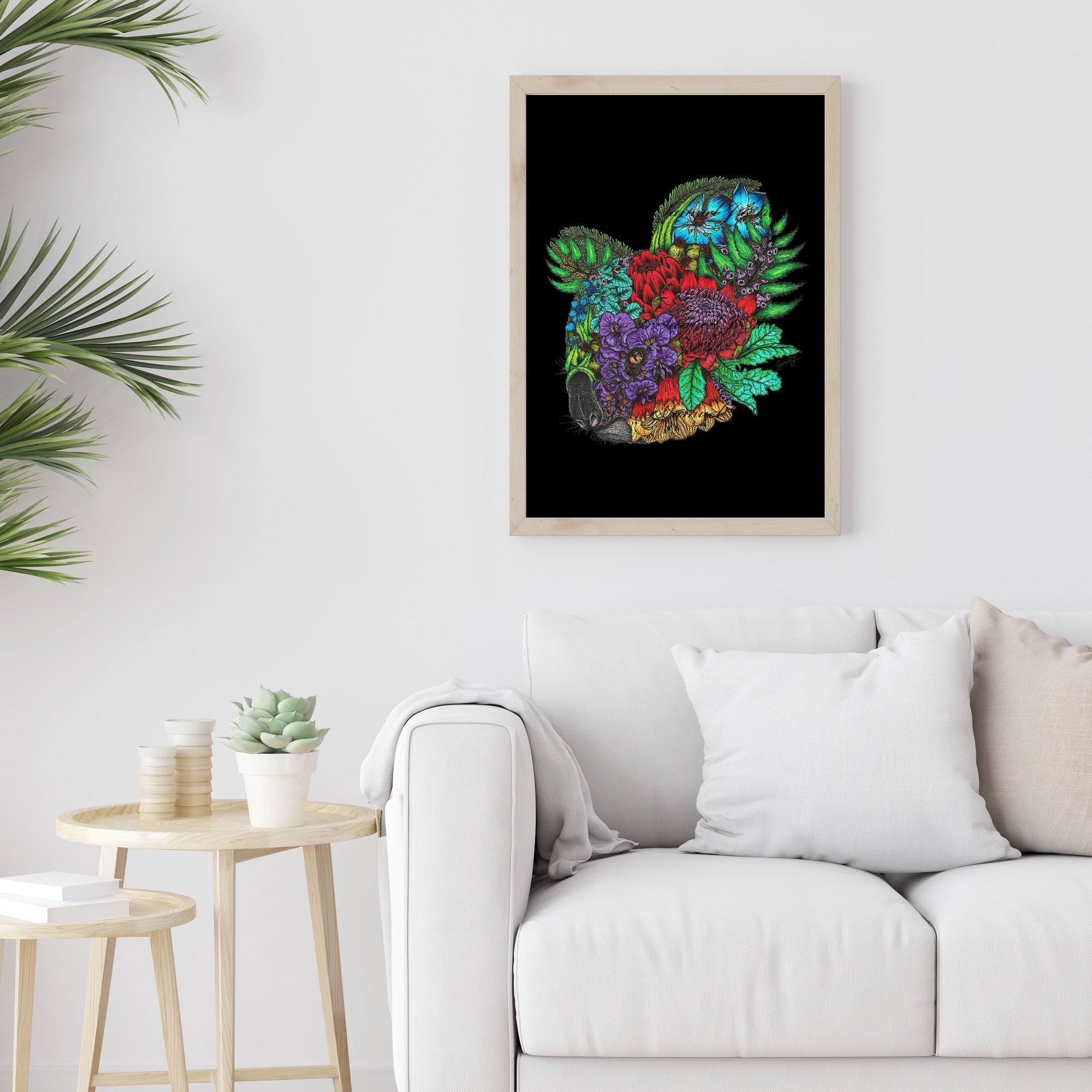 Floral Koala 2 - Colour - Black Background - Print SALE