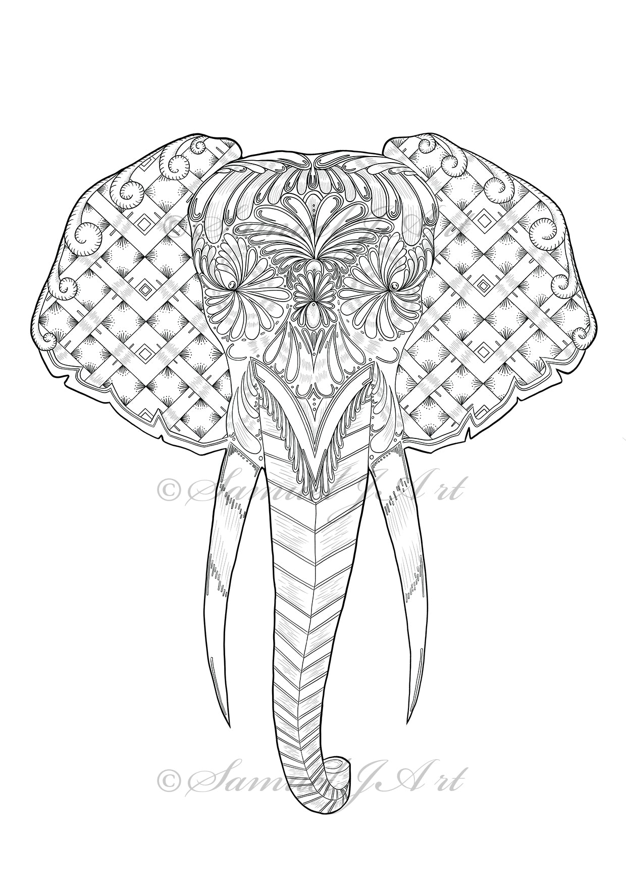 Masked Elephant - Colouring Template - Digital Download
