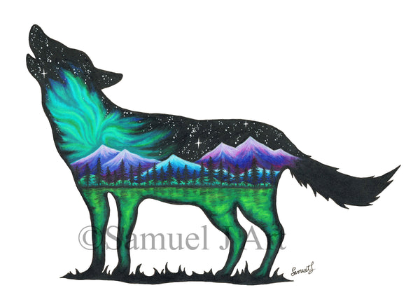 Northern Lights Wolf  |  Colourful Mountain Scene