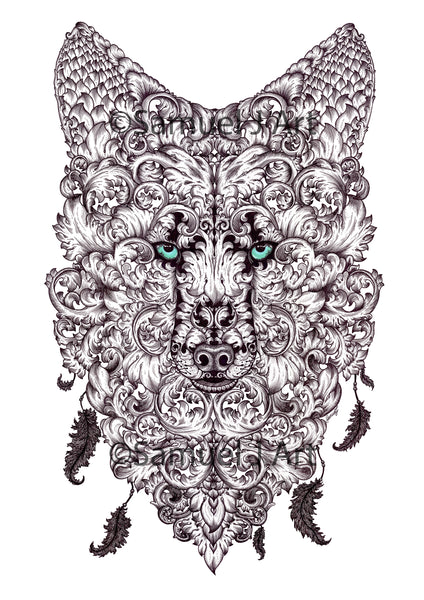 Green Eyed Ornate Wolf