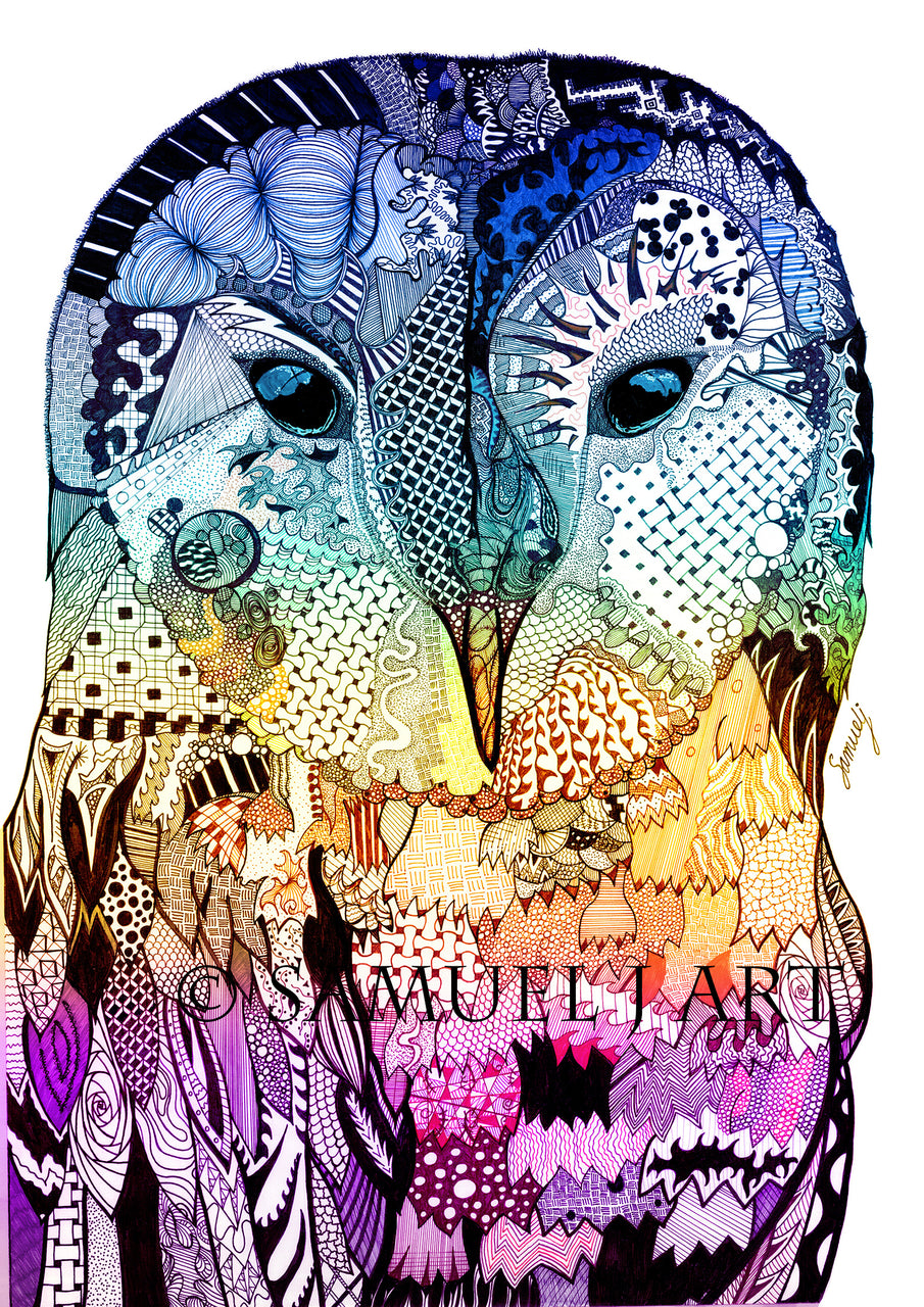 Wise Owl - Blue Yellow & Purple. - Prints