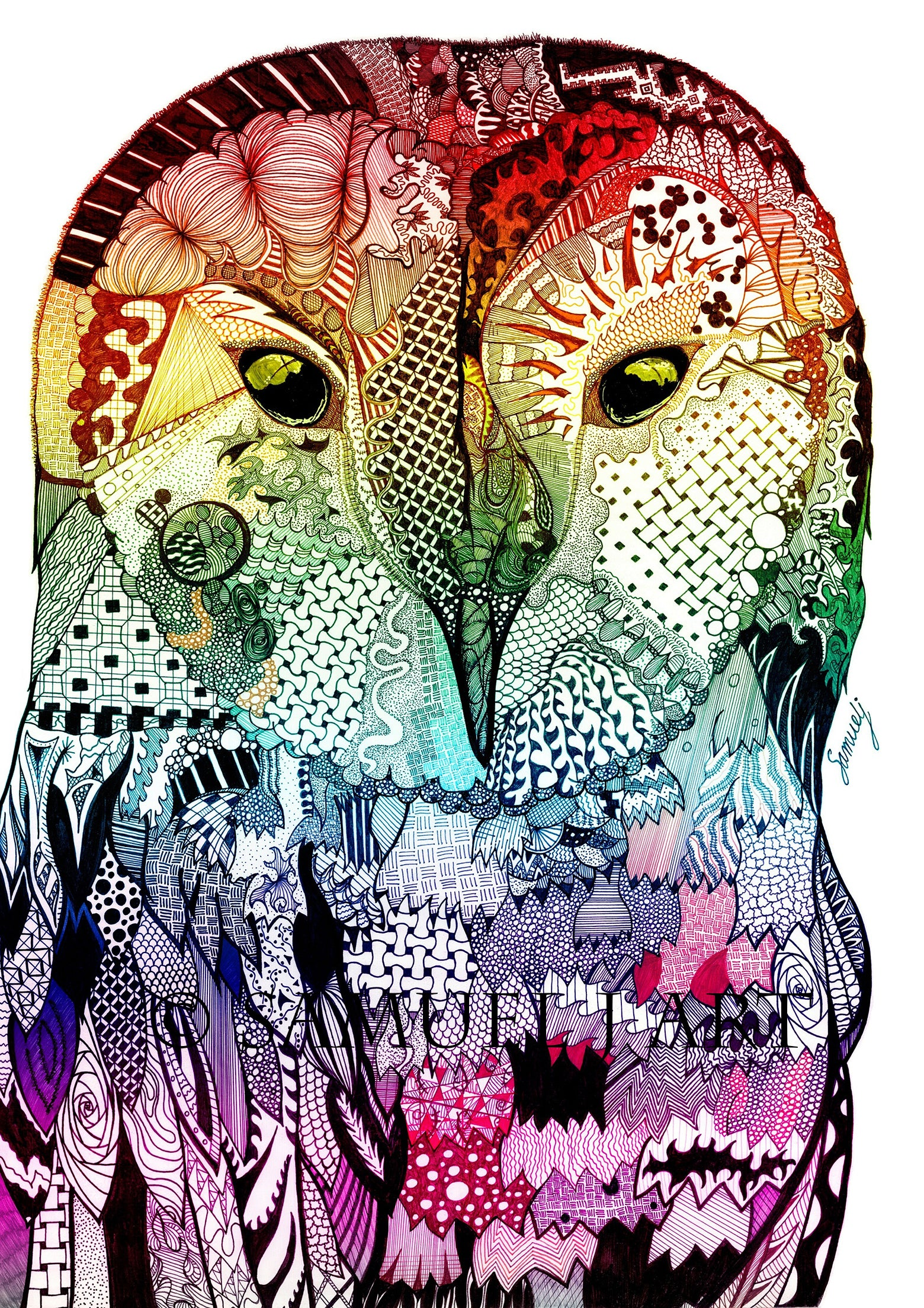 Multi-Coloured Wise Owl - Prints
