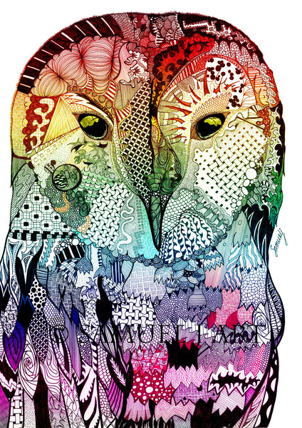 Rainbow Wise Owl - Print