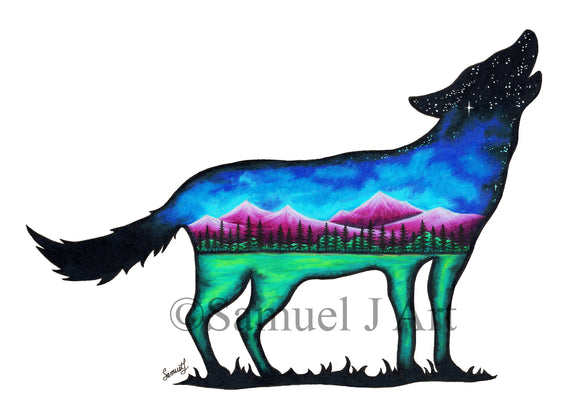 Mountain Wolf  |  Colourful Mountain Scene