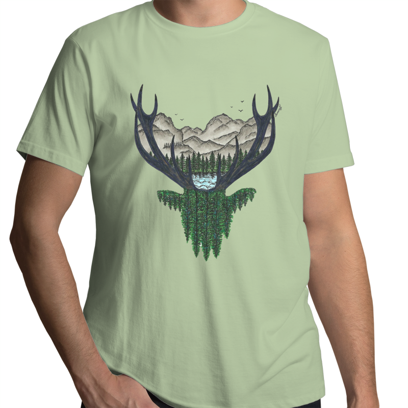 Sportage Surf - Mens T-Shirt - 'Forest Stag' - Front