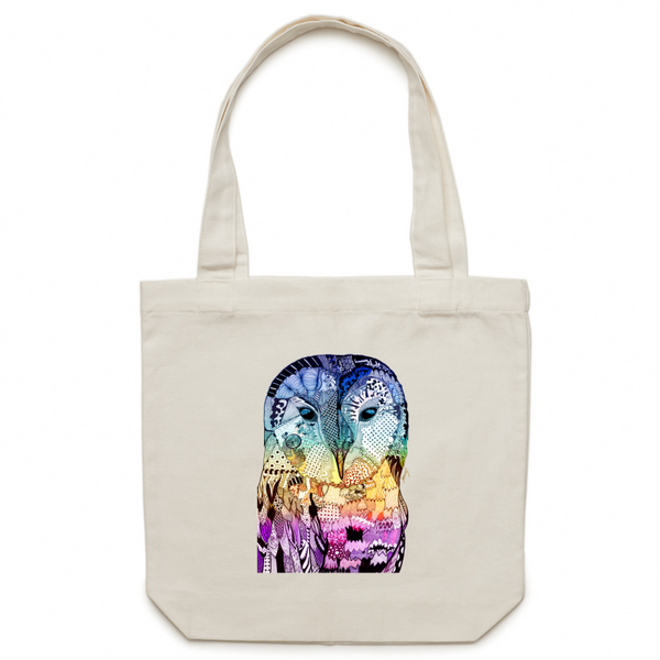 Canvas Tote Bag - Blue, Yellow & Purple 'Wise Owl' - One Sided