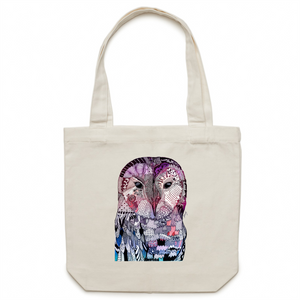 Canvas Tote Bag - Purple 'Wise Owl' - One Sided