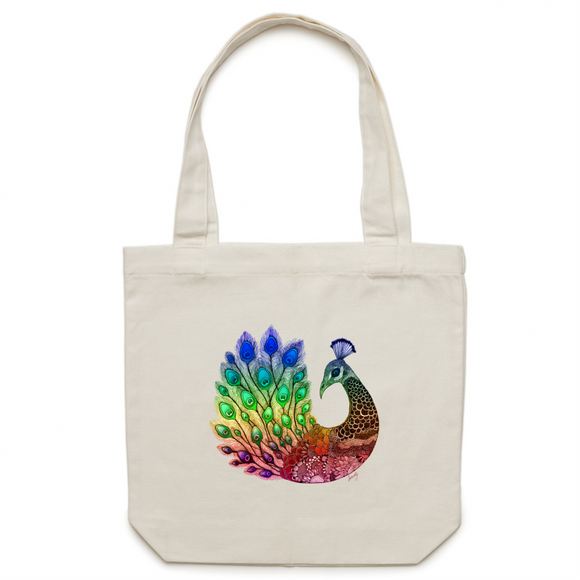 Canvas Tote Bag - Rainbow 'Majestic Peacock' - One Sided